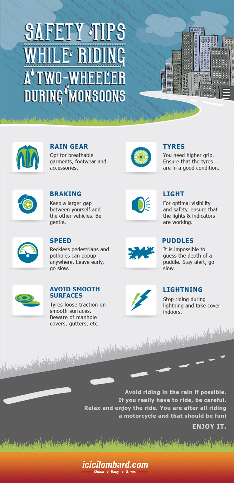 Safety Tips Safety Tips While Riding A Two Wheeler During Monsoon